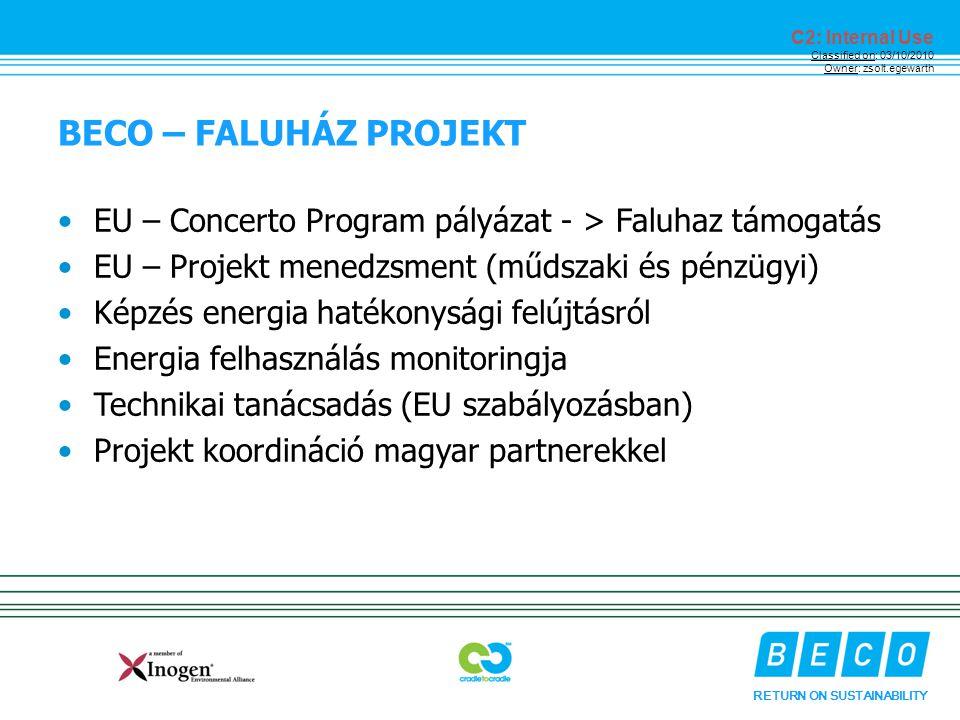 RETURN ON SUSTAINABILITY C2: Internal Use Classified on: 03/10/2010 Owner: zsolt.egewarth BECO – FALUHÁZ PROJEKT EU – Concerto Program pályázat - > Faluhaz támogatás EU – Projekt menedzsment (műdszaki és pénzügyi) Képzés energia hatékonysági felújtásról Energia felhasználás monitoringja Technikai tanácsadás (EU szabályozásban) Projekt koordináció magyar partnerekkel
