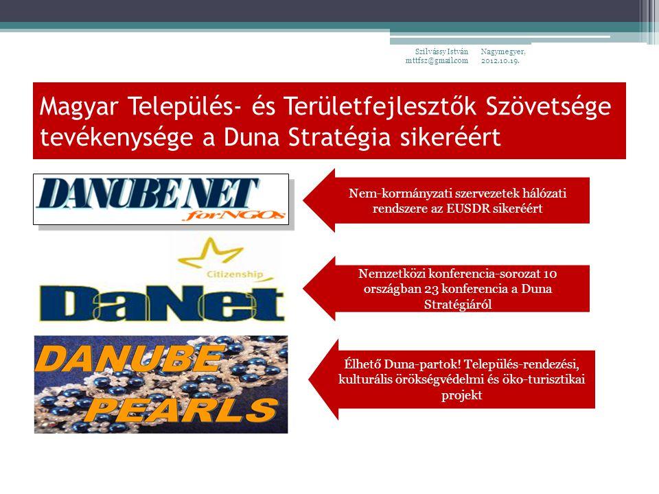 Magyar Település- és Területfejlesztők Szövetsége tevékenysége a Duna Stratégia sikeréért Nagymegyer, 2012.10.19.