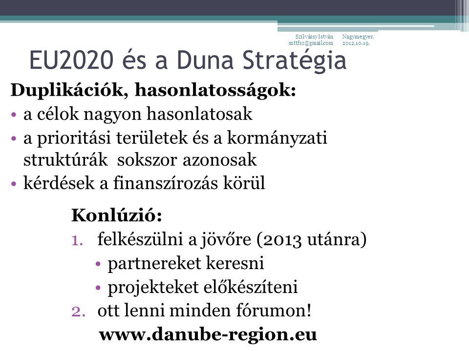 EU2020 és a Duna Stratégia Duplikációk, hasonlatosságok: a célok nagyon hasonlatosak a prioritási területek és a kormányzati struktúrák sokszor azonosak kérdések a finanszírozás körül Nagymegyer, 2012.10.19.