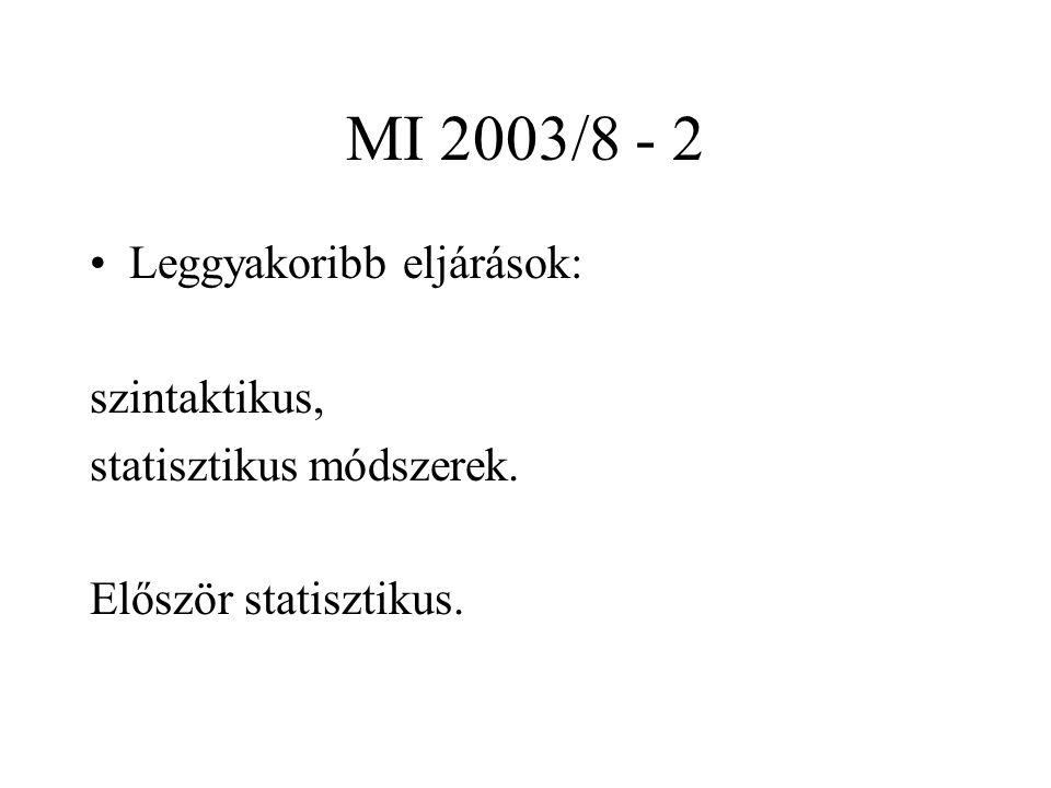 MI 2003/8 - 3 Kiindulás: tulajdonságvektor (feature) - ez általában véletlentől függő értékekből épül fel.