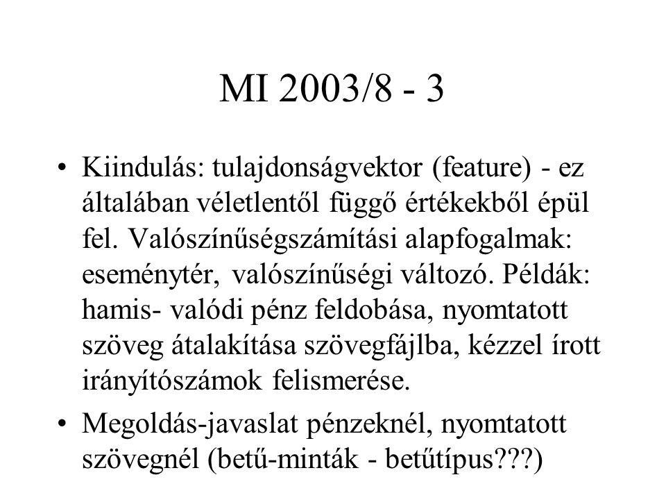MI 2003/8 - 4 Mérőszámok (tulajdonságok (valószínűségi változók)) keresése - különböző feladatoknál eltérők lehetnek: nyomtatott betűk, írott számok.