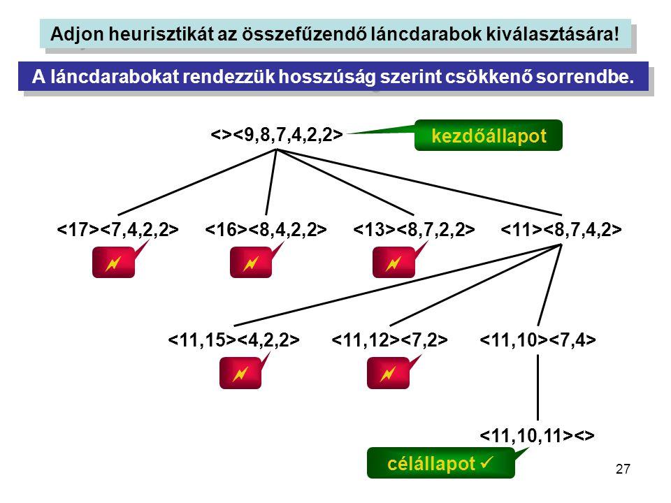 27 Adjon heurisztikát az összefűzendő láncdarabok kiválasztására! A láncdarabokat rendezzük hosszúság szerint csökkenő sorrendbe. <> kezdőállapot <> 