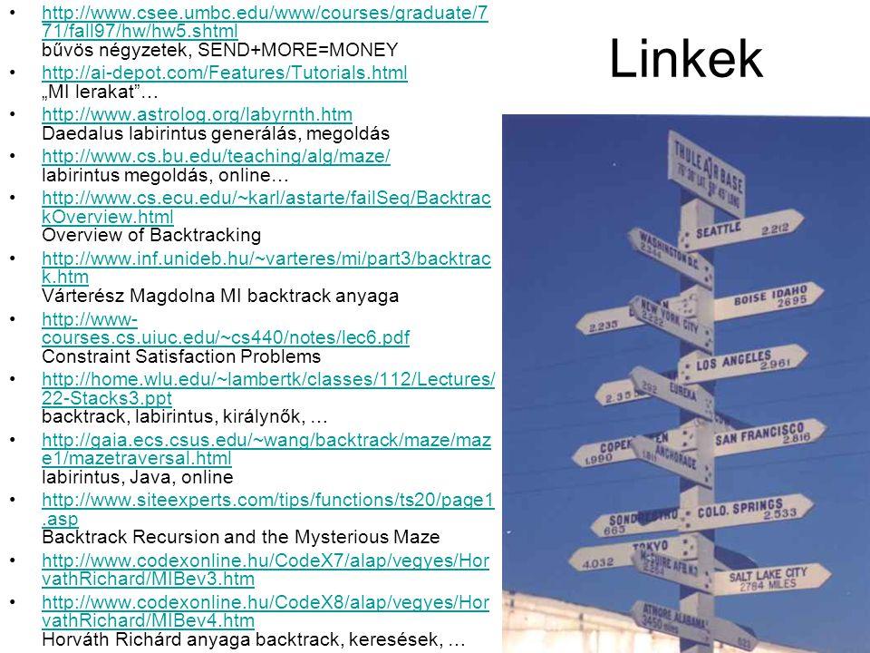 33 Linkek http://www.csee.umbc.edu/www/courses/graduate/7 71/fall97/hw/hw5.shtml bűvös négyzetek, SEND+MORE=MONEYhttp://www.csee.umbc.edu/www/courses/