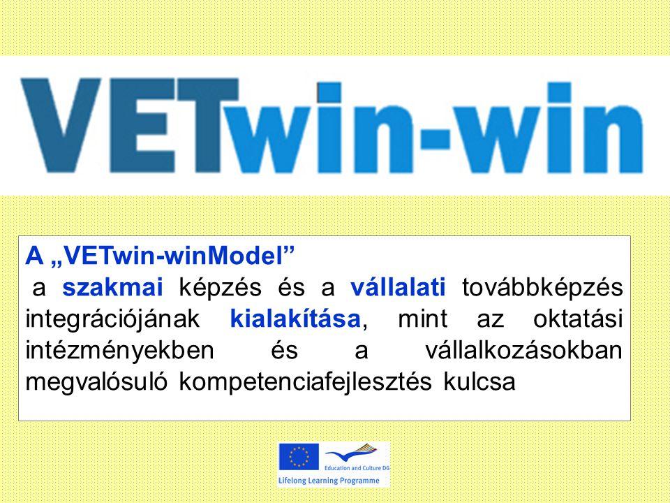 """A """"VETwin-winModel a szakmai képzés és a vállalati továbbképzés integrációjának kialakítása, mint az oktatási intézményekben és a vállalkozásokban megvalósuló kompetenciafejlesztés kulcsa"""