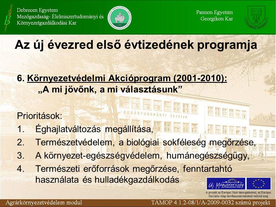 """Az új évezred első évtizedének programja 6. Környezetvédelmi Akcióprogram (2001-2010): """"A mi jövőnk, a mi választásunk"""" Prioritások: 1.Éghajlatváltozá"""