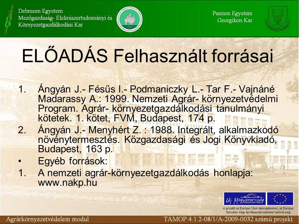 ELŐADÁS Felhasznált forrásai 1.Ángyán J.- Fésűs I.- Podmaniczky L.- Tar F.- Vajnáné Madarassy A.: 1999. Nemzeti Agrár- környezetvédelmi Program. Agrár