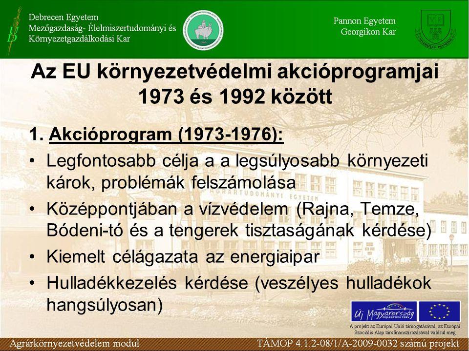 Az EU környezetvédelmi akcióprogramjai 1973 és 1992 között 1. Akcióprogram (1973-1976): Legfontosabb célja a a legsúlyosabb környezeti károk, problémá
