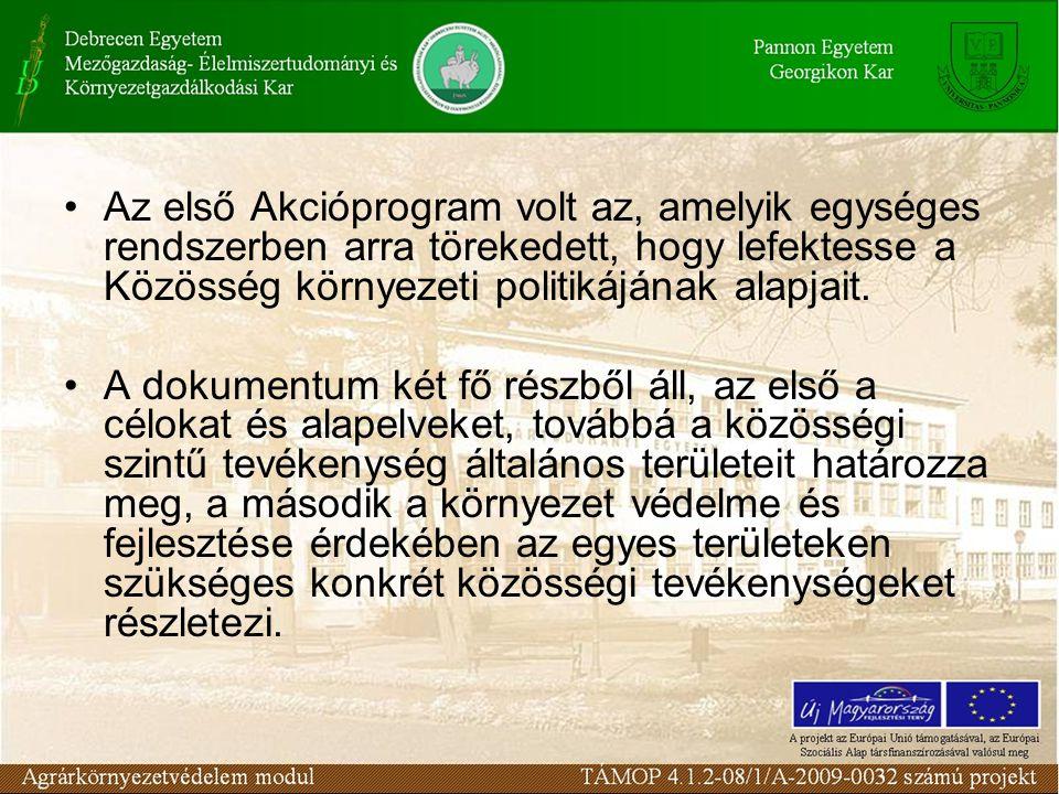 Az első Akcióprogram volt az, amelyik egységes rendszerben arra törekedett, hogy lefektesse a Közösség környezeti politikájának alapjait. A dokumentum