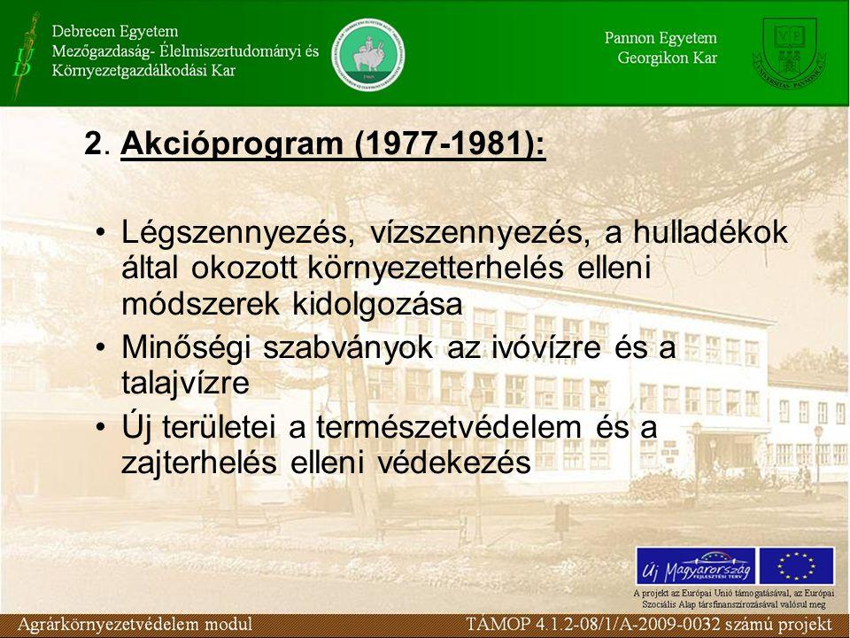 2. Akcióprogram (1977-1981): Légszennyezés, vízszennyezés, a hulladékok által okozott környezetterhelés elleni módszerek kidolgozása Minőségi szabvány