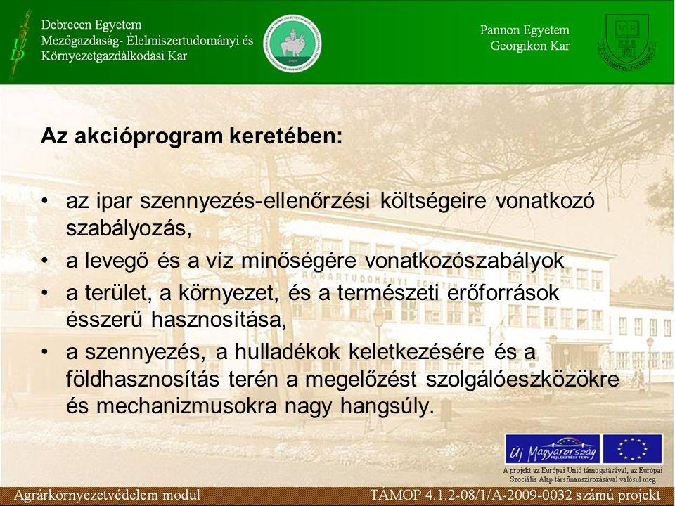 Az akcióprogram keretében: az ipar szennyezés-ellenőrzési költségeire vonatkozó szabályozás, a levegő és a víz minőségére vonatkozószabályok a terület