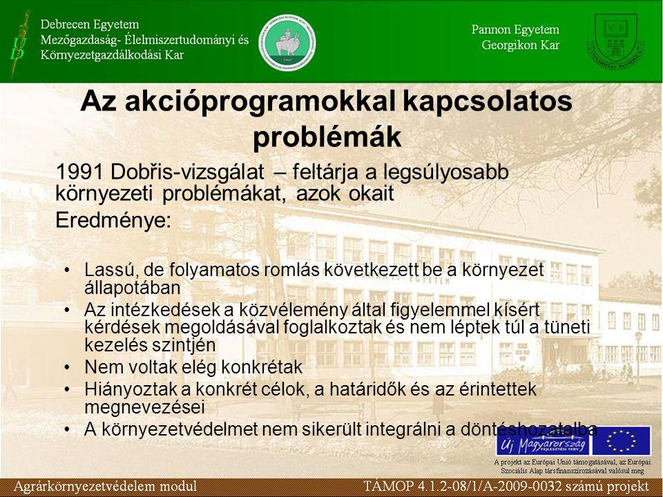 Az akcióprogramokkal kapcsolatos problémák 1991 Dobřis-vizsgálat – feltárja a legsúlyosabb környezeti problémákat, azok okait Eredménye: Lassú, de fol