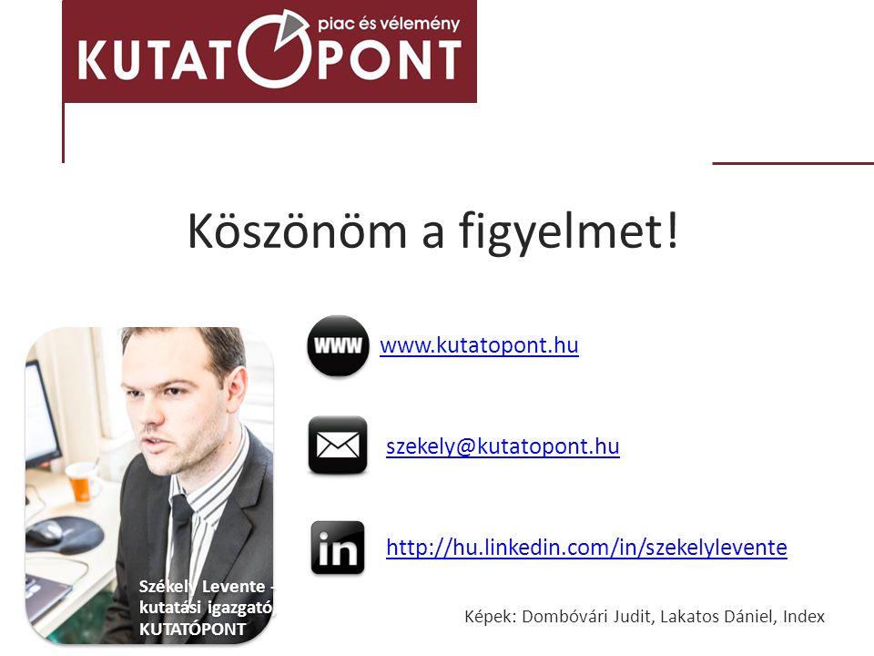Köszönöm a figyelmet! Székely Levente - kutatási igazgató, KUTATÓPONT www.kutatopont.hu szekely@kutatopont.hu http://hu.linkedin.com/in/szekelylevente
