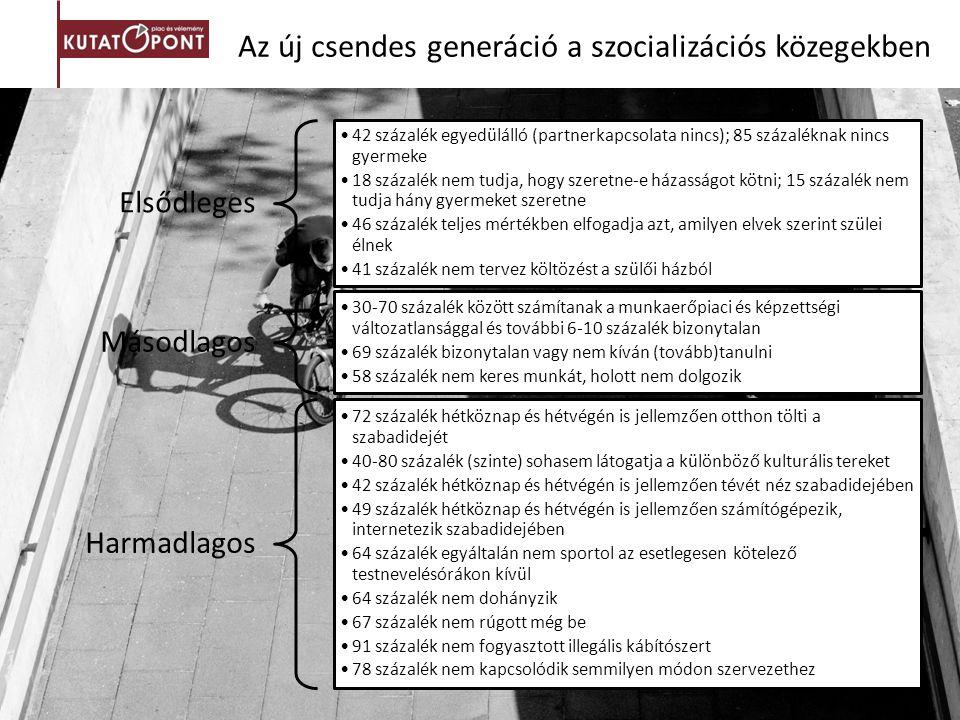 Az új csendes generáció a szocializációs közegekben Elsődleges 42 százalék egyedülálló (partnerkapcsolata nincs); 85 százaléknak nincs gyermeke 18 szá