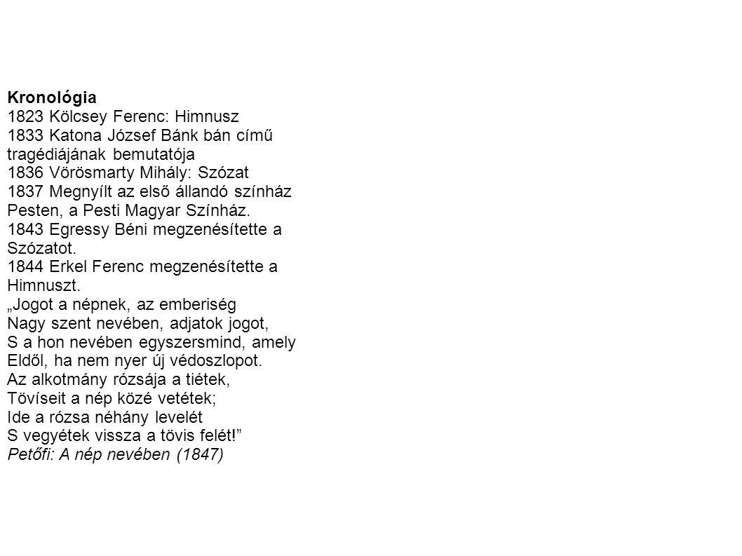 Kronológia 1823 Kölcsey Ferenc: Himnusz 1833 Katona József Bánk bán című tragédiájának bemutatója 1836 Vörösmarty Mihály: Szózat 1837 Megnyílt az első