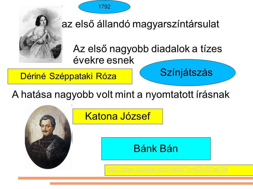 Színjátszás A hatása nagyobb volt mint a nyomtatott írásnak az első állandó magyarszíntársulat 1792 Az első nagyobb diadalok a tízes évekre esnek Bánk