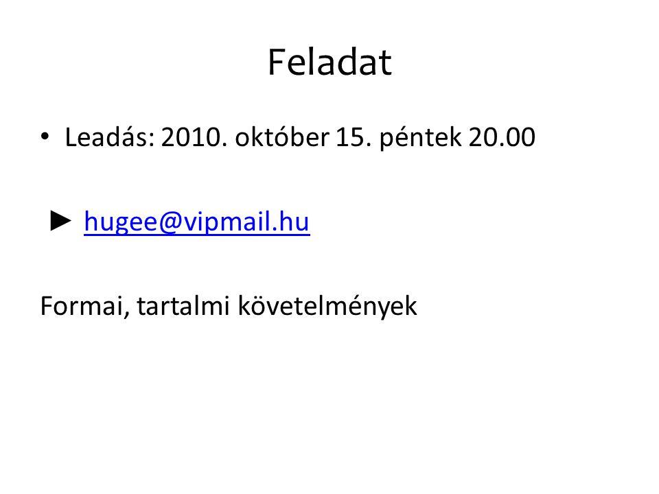 Feladat Leadás: 2010. október 15. péntek 20.00 ► hugee@vipmail.hu hugee@vipmail.hu Formai, tartalmi követelmények