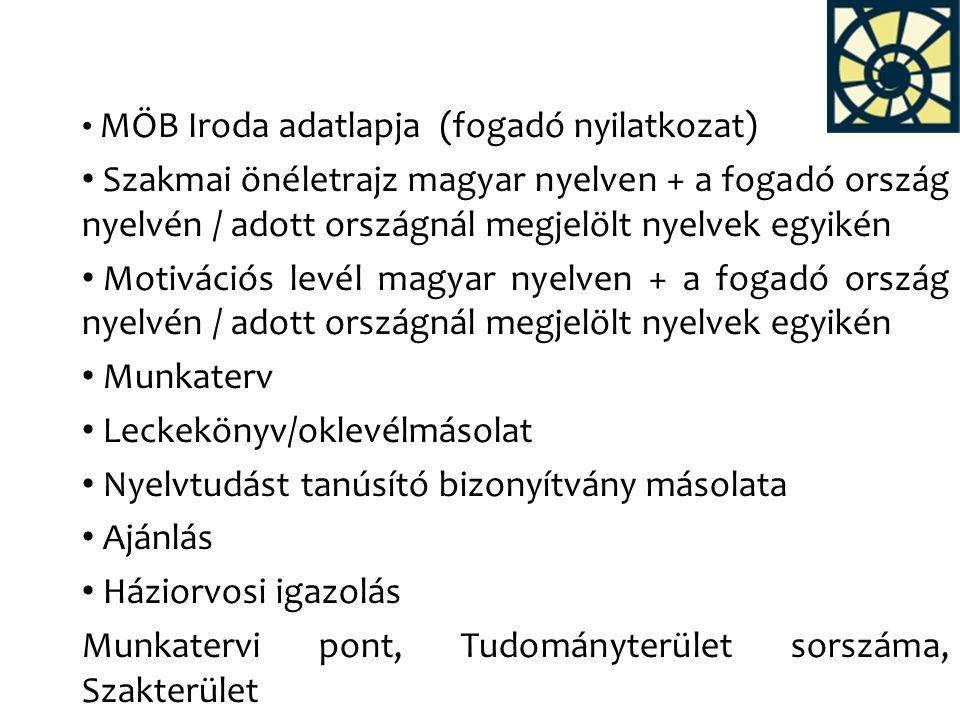 MÖB Iroda adatlapja (fogadó nyilatkozat) Szakmai önéletrajz magyar nyelven + a fogadó ország nyelvén / adott országnál megjelölt nyelvek egyikén Motiv