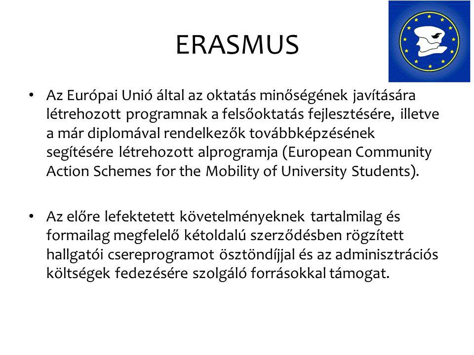 ERASMUS Az Európai Unió által az oktatás minőségének javítására létrehozott programnak a felsőoktatás fejlesztésére, illetve a már diplomával rendelke