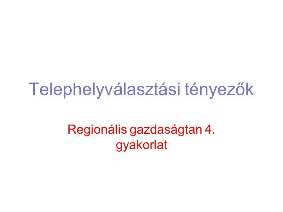 Telephelyválasztási tényezők Regionális gazdaságtan 4. gyakorlat