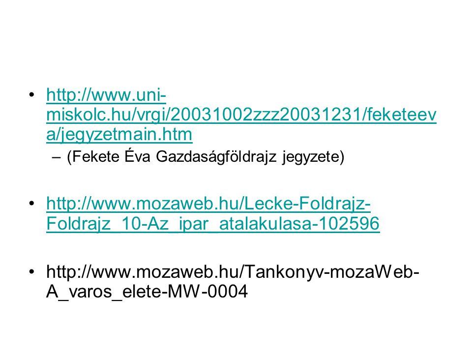 http://www.uni- miskolc.hu/vrgi/20031002zzz20031231/feketeev a/jegyzetmain.htmhttp://www.uni- miskolc.hu/vrgi/20031002zzz20031231/feketeev a/jegyzetmain.htm –(Fekete Éva Gazdaságföldrajz jegyzete) http://www.mozaweb.hu/Lecke-Foldrajz- Foldrajz_10-Az_ipar_atalakulasa-102596http://www.mozaweb.hu/Lecke-Foldrajz- Foldrajz_10-Az_ipar_atalakulasa-102596 http://www.mozaweb.hu/Tankonyv-mozaWeb- A_varos_elete-MW-0004