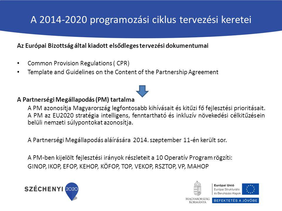 A 2014-2020 programozási ciklus tervezési keretei Az Európai Bizottság által kiadott elsődleges tervezési dokumentumai Common Provision Regulations (