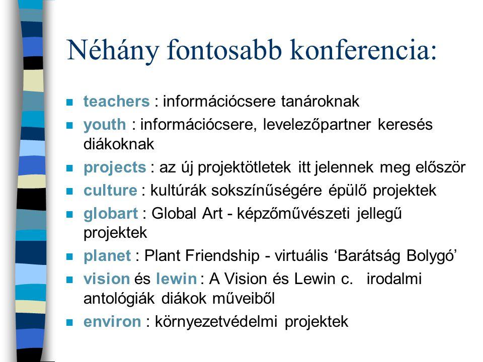 Néhány fontosabb konferencia: n teachers : információcsere tanároknak n youth : információcsere, levelezőpartner keresés diákoknak n projects : az új projektötletek itt jelennek meg először n culture : kultúrák sokszínűségére épülő projektek n globart : Global Art - képzőművészeti jellegű projektek n planet : Plant Friendship - virtuális 'Barátság Bolygó' n vision és lewin : A Vision és Lewin c.