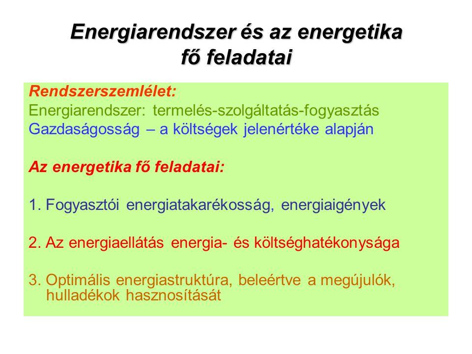 Energiarendszer és az energetika fő feladatai Rendszerszemlélet: Energiarendszer: termelés-szolgáltatás-fogyasztás Gazdaságosság – a költségek jelenértéke alapján Az energetika fő feladatai: 1.