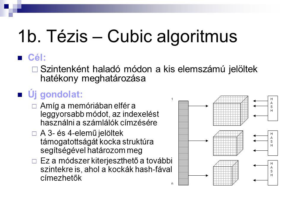 1b. Tézis – Cubic algoritmus Új gondolat:  Amíg a memóriában elfér a leggyorsabb módot, az indexelést használni a számlálók címzésére  A 3- és 4-ele