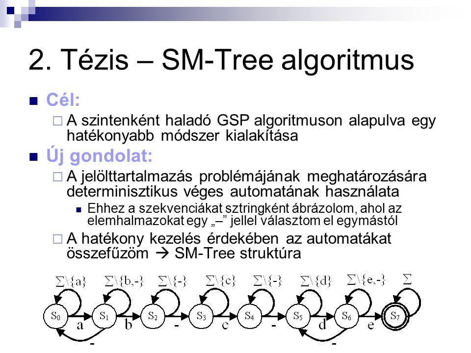 2. Tézis – SM-Tree algoritmus Cél:  A szintenként haladó GSP algoritmuson alapulva egy hatékonyabb módszer kialakítása Új gondolat:  A jelölttartalm
