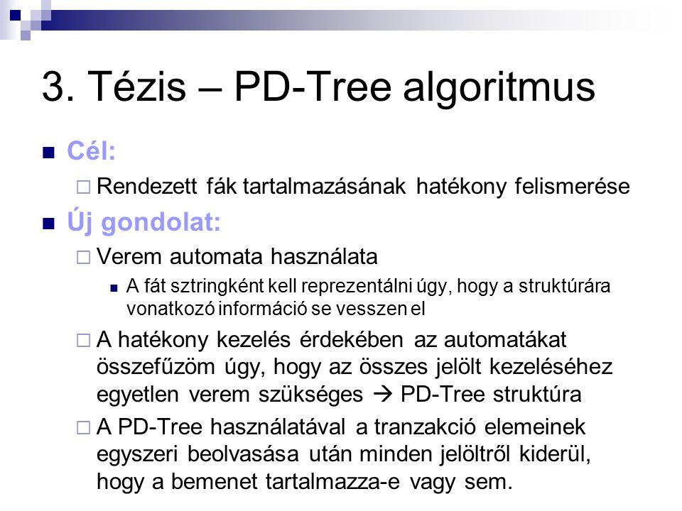 3. Tézis – PD-Tree algoritmus Cél:  Rendezett fák tartalmazásának hatékony felismerése Új gondolat:  Verem automata használata A fát sztringként kel