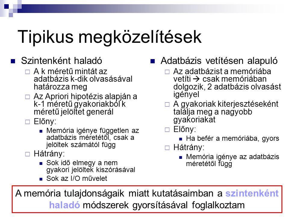 Tipikus megközelítések Szintenként haladó  A k méretű mintát az adatbázis k-dik olvasásával határozza meg  Az Apriori hipotézis alapján a k-1 méretű