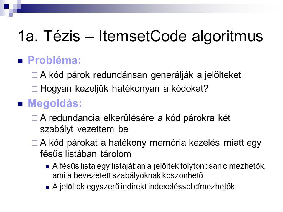 1a. Tézis – ItemsetCode algoritmus Probléma:  A kód párok redundánsan generálják a jelölteket  Hogyan kezeljük hatékonyan a kódokat? Megoldás:  A r