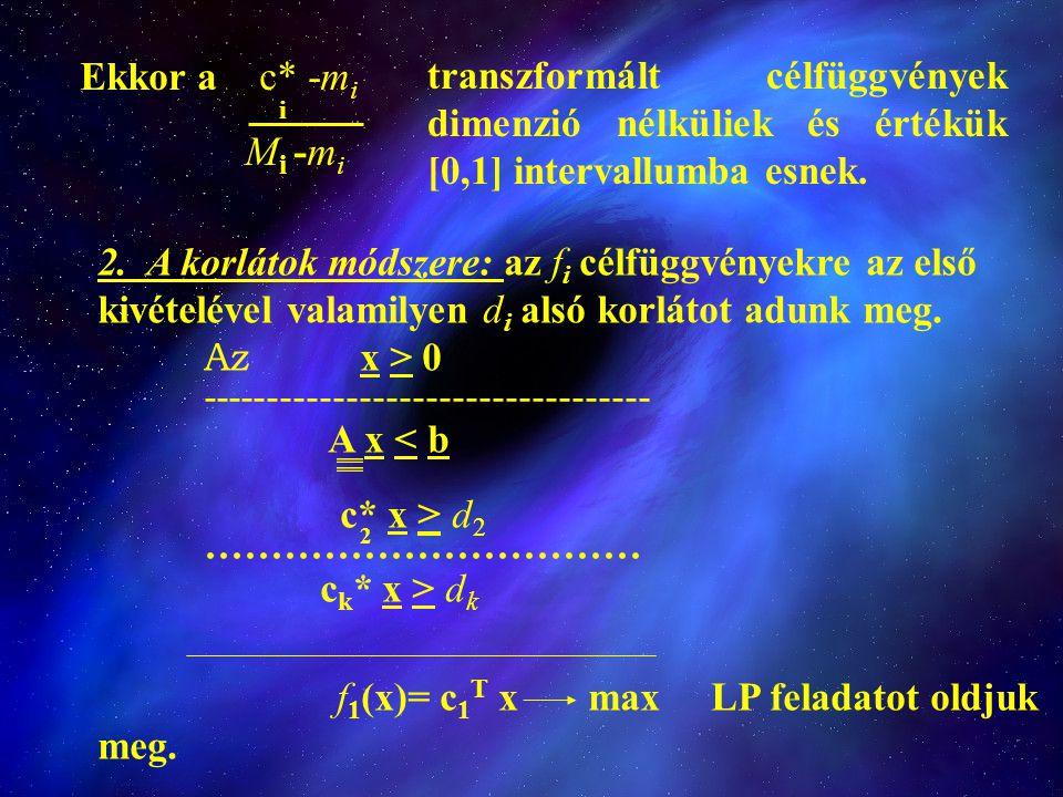 Ekkor a c* -m i i M i -m i transzformált célfüggvények dimenzió nélküliek és értékük [0,1] intervallumba esnek. 2. A korlátok módszere: az f i célfügg