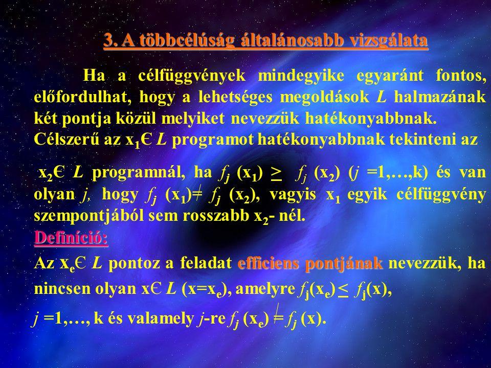 3. A többcélúság általánosabb vizsgálata Ha a célfüggvények mindegyike egyaránt fontos, előfordulhat, hogy a lehetséges megoldások L halmazának két po