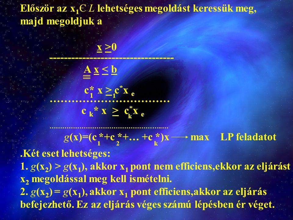 Először az x 1 Є L lehetséges megoldást keressük meg, majd megoldjuk a x >0 ---------------------------------- A x < b c* x > c * x e 1 …………………………… c