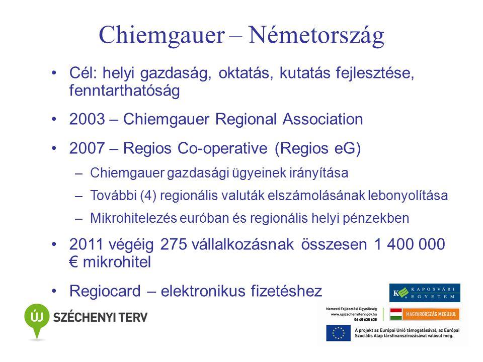 Chiemgauer – Németország Cél: helyi gazdaság, oktatás, kutatás fejlesztése, fenntarthatóság 2003 – Chiemgauer Regional Association 2007 – Regios Co-operative (Regios eG) –Chiemgauer gazdasági ügyeinek irányítása –További (4) regionális valuták elszámolásának lebonyolítása –Mikrohitelezés euróban és regionális helyi pénzekben 2011 végéig 275 vállalkozásnak összesen 1 400 000 € mikrohitel Regiocard – elektronikus fizetéshez