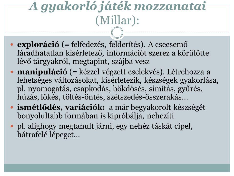 A gyakorló játék mozzanatai (Millar): exploráció (= felfedezés, felderítés).