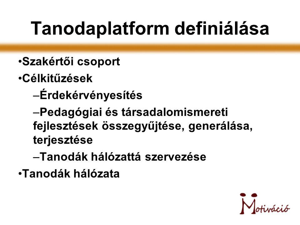 Tanodaplatform definiálása Szakértői csoport Célkitűzések –Érdekérvényesítés –Pedagógiai és társadalomismereti fejlesztések összegyűjtése, generálása,