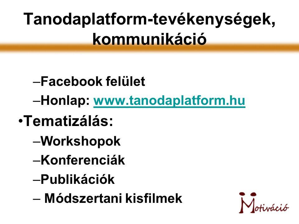 Tanodaplatform-tevékenységek, kommunikáció –Facebook felület –Honlap: www.tanodaplatform.huwww.tanodaplatform.hu Tematizálás: –Workshopok –Konferenciá