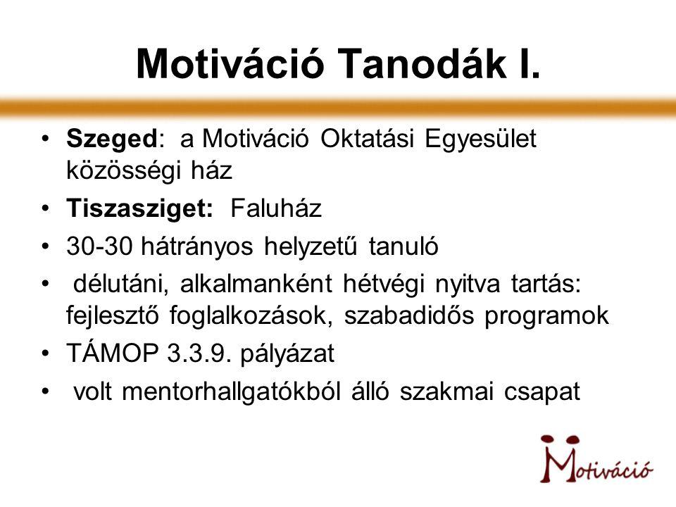 Motiváció Tanodák I. Szeged: a Motiváció Oktatási Egyesület közösségi ház Tiszasziget: Faluház 30-30 hátrányos helyzetű tanuló délutáni, alkalmanként