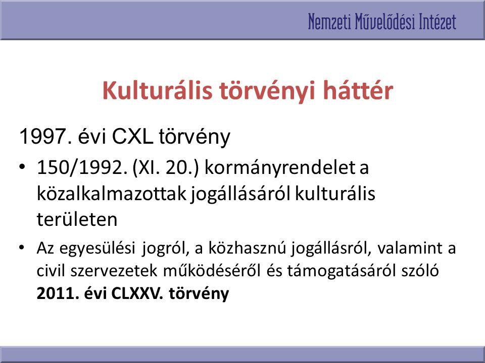 Kulturális törvényi háttér 1997. évi CXL törvény 150/1992. (XI. 20.) kormányrendelet a közalkalmazottak jogállásáról kulturális területen Az egyesülés