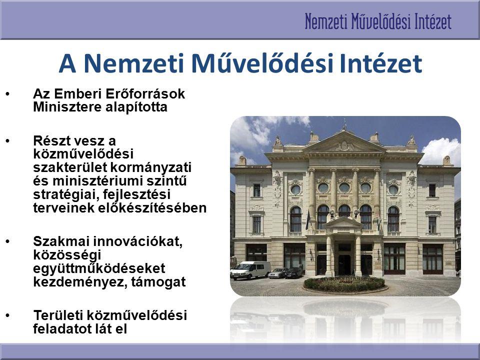 A Nemzeti Művelődési Intézet Az Emberi Erőforrások Minisztere alapította Részt vesz a közművelődési szakterület kormányzati és minisztériumi szintű st