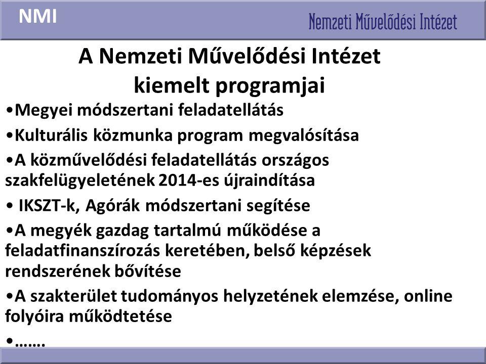 A Nemzeti Művelődési Intézet kiemelt programjai Megyei módszertani feladatellátás Kulturális közmunka program megvalósítása A közművelődési feladatell