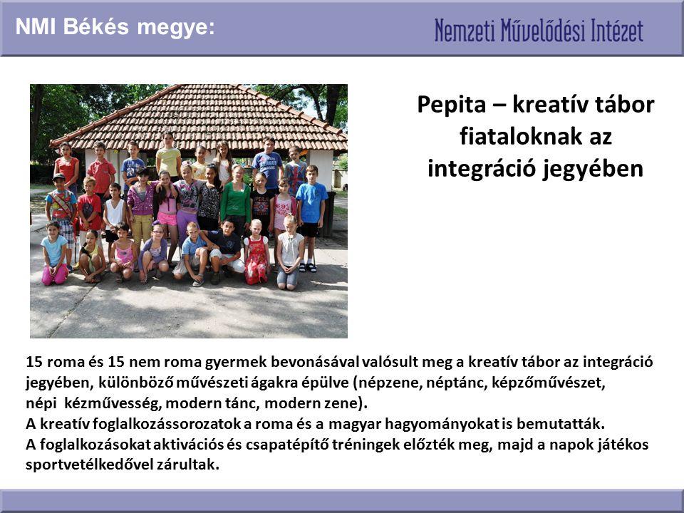 Pepita – kreatív tábor fiataloknak az integráció jegyében 15 roma és 15 nem roma gyermek bevonásával valósult meg a kreatív tábor az integráció jegyéb