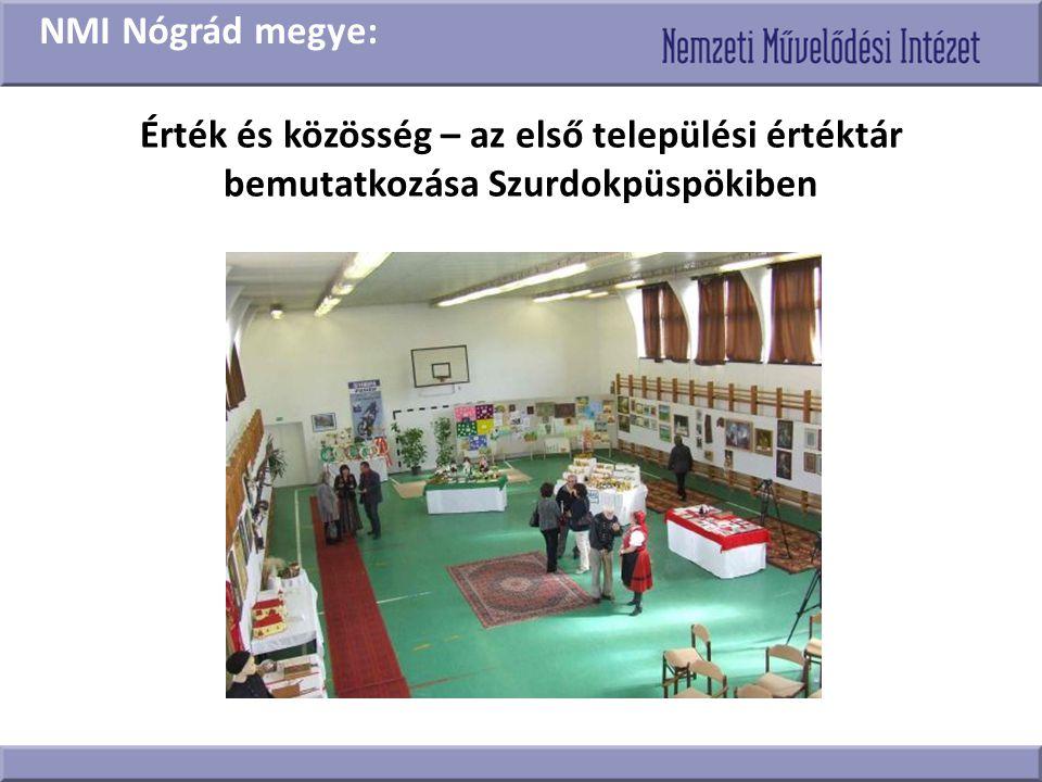 Érték és közösség – az első települési értéktár bemutatkozása Szurdokpüspökiben NMI Nógrád megye: