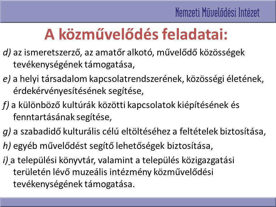 A közművelődés feladatai: d) az ismeretszerző, az amatőr alkotó, művelődő közösségek tevékenységének támogatása, e) a helyi társadalom kapcsolatrendsz