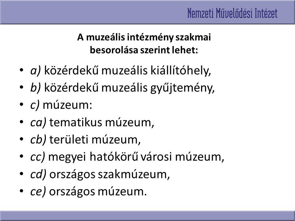 A muzeális intézmény szakmai besorolása szerint lehet: a) közérdekű muzeális kiállítóhely, b) közérdekű muzeális gyűjtemény, c) múzeum: ca) tematikus
