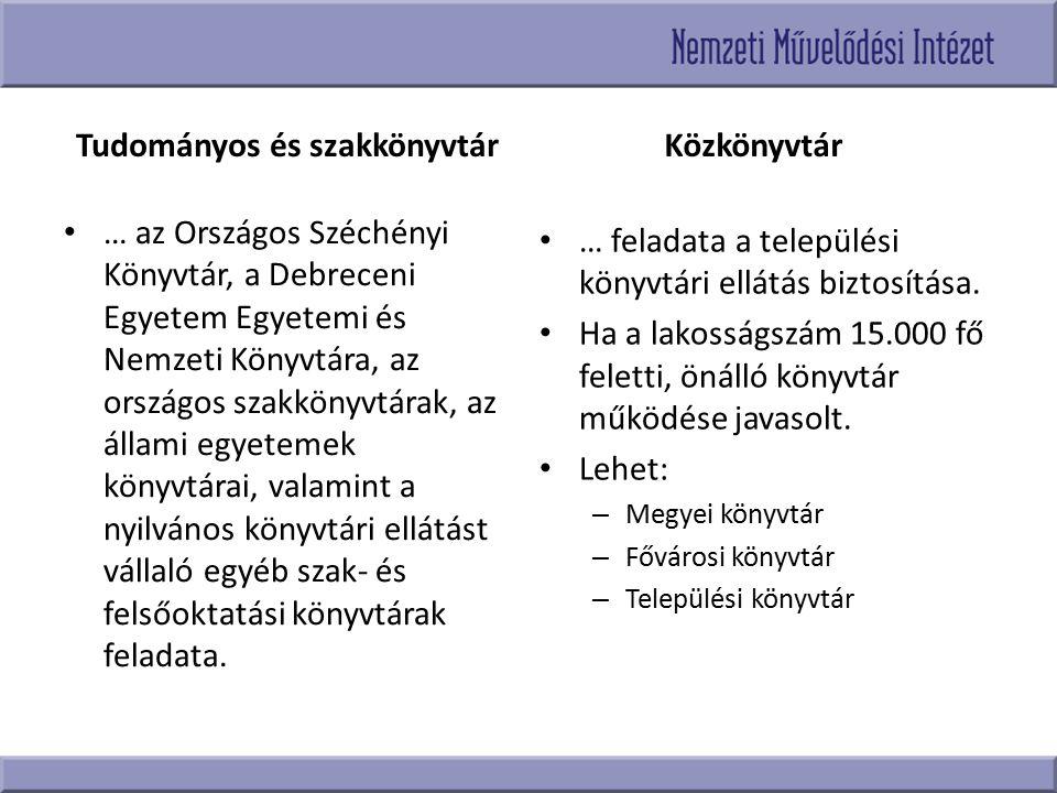 Tudományos és szakkönyvtár … az Országos Széchényi Könyvtár, a Debreceni Egyetem Egyetemi és Nemzeti Könyvtára, az országos szakkönyvtárak, az állami