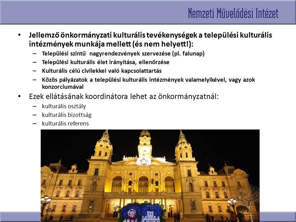 Jellemző önkormányzati kulturális tevékenységek a települési kulturális intézmények munkája mellett (és nem helyett!): – Települési szintű nagyrendezv