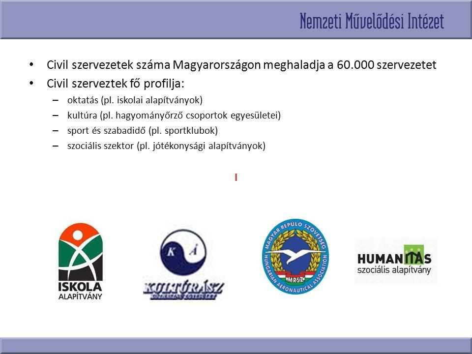 Civil szervezetek száma Magyarországon meghaladja a 60.000 szervezetet Civil szerveztek fő profilja: – oktatás (pl. iskolai alapítványok) – kultúra (p